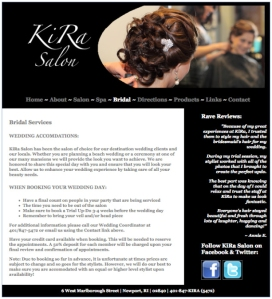 Ki-Ra Salon website designed by Windlass Creative