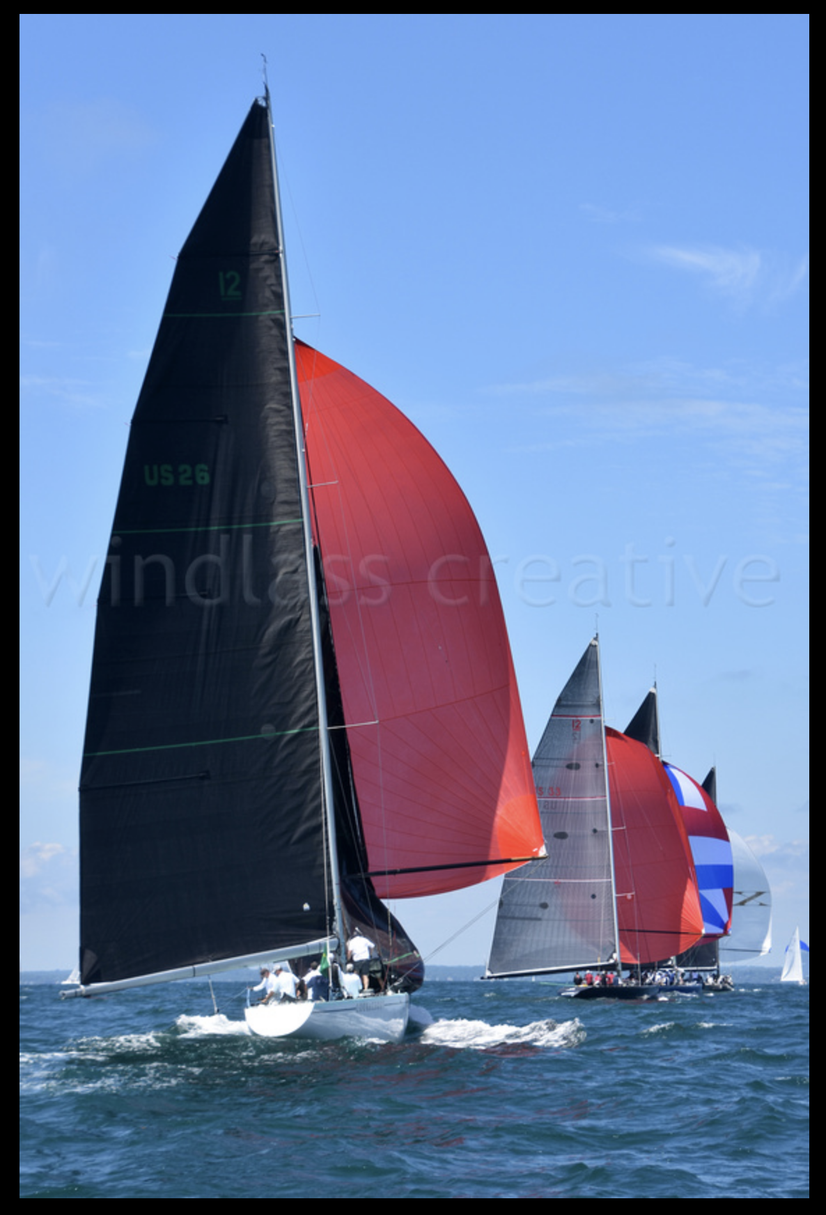 12 Metre Yachts sailing at New York Yacht Club Race Week, Newport, Rhode Island, 7/21/18